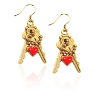 Keys with Heart Charm Earrings in Gold