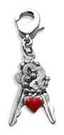 Keys with Heart Charm Dangle in Silver