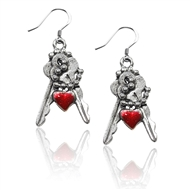 Keys with Heart Charm Earrings in Silver