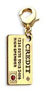 Credit Card Charm Dangle in Gold