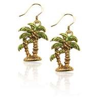 Palm Trees Charm Earrings in Gold