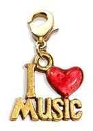 I Love Music Charm Dangle in Gold