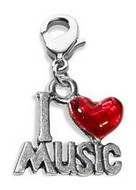 I Love Music Charm Dangle in Silver