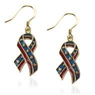 Stars and Stripes Ribbon Charm Earrings in Gold