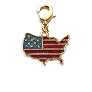 Stars and Stripes Flag Charm Dangle in Gold