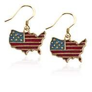Stars and Stripes Flag Charm Earrings in Gold