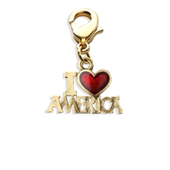 I Love America Charm Dangle in Gold