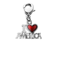 I Love America Charm Dangle in Silver