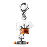 Chef Hat Charm Dangle In Silver