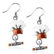 Chef Hat Charm Earrings In Silver