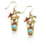 Cocktail Drink Charm Earrings in Gold