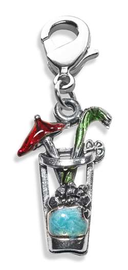 Cocktail Drink Charm Dangle in Silver