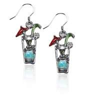Cocktail Drink Charm Earrings in Silver
