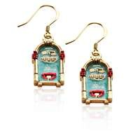 Jukebox Charm Earrings in Gold
