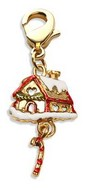 Gingerbread House Charm Dangle in Gold