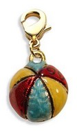 Beach Ball Charm Dangle in Gold