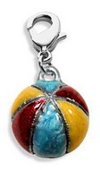 Beach Ball Charm Dangle in Silver