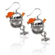 Trick or Treat Charm Earrings in Silver