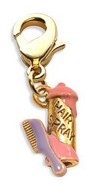 Hair Spray & Comb Charm Dangle in Gold