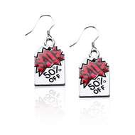 50% Off Sales Tag Charm Earrings in Silver