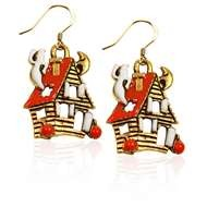 Haunted House Charm Earrings in Gold