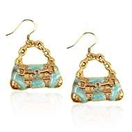 Retro Purse Charm Earrings in Gold