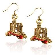 Sandcastle with Shovel Charm Earrings in Gold