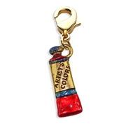Artist Paint Tube Charm Dangle In Gold