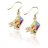 Kite Charm Earrings in Gold