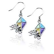 Kite Charm Earrings in Silver