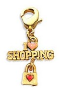 I Love Shopping Charm Dangle in Gold