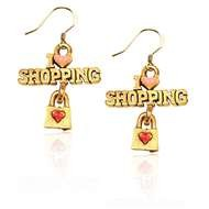 I Love Shopping Charm Earrings in Gold
