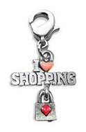 I Love Shopping Charm Dangle in Silver