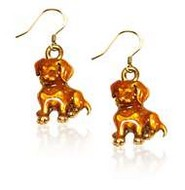 Puppy Charm Earrings in Gold