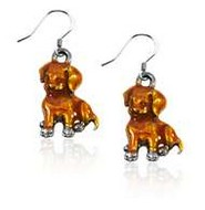 Puppy Charm Earrings in Silver