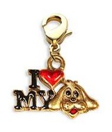 I Love My Dog Charm Dangle in Gold
