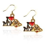 I Love My Dog Charm Earrings in Gold