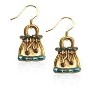 Drawstring Purse Charm Earrings in Gold
