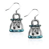 Drawstring Purse Charm Earrings in Silver