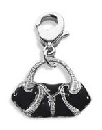 Flap Purse Charm Dangle in Silver