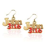 John 3:16 Charm Earrings in Gold