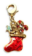 Christmas Stocking Charm Dangle in Gold
