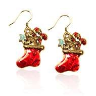 Christmas Stocking Charm Earrings in Gold