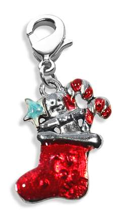 Christmas Stocking Charm Dangle in Silver