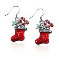 Christmas Stocking Charm Earrings in Silver
