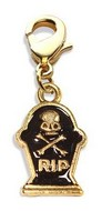 Tombstone with Skull Charm Dangle in Gold