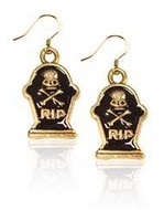 Tombstone with Skull Charm Earrings in Gold