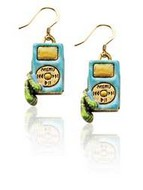 Music Player Charm Earrings in Gold
