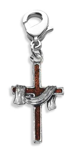 Cross with Shroud Charm Dangle in Silver