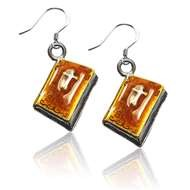 Holy Bible Charm Earrings in Silver